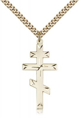 "Gold Filled Cross Pendant, Stainless Gold Heavy Curb Chain, 1 3/8"" x 5/8"""