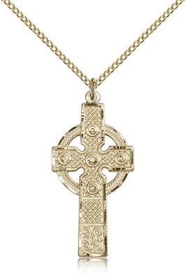 "Gold Filled Kilklispeen Cross Pendant, Gold Filled Lite Curb Chain, 1 3/8"" x 5/8"""