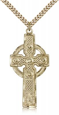 "Gold Filled Cross Pendant, Stainless Gold Heavy Curb Chain, 1 7/8"" x 7/8"""