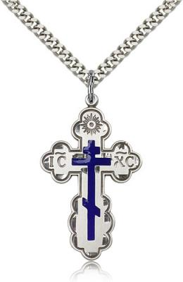"Sterling Silver St. Olga Pendant, Stainless Silver Heavy Curb Chain, 1 3/8"" x 7/8"""