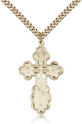 "Gold Filled St. Olga Pendant, Stainless Gold Heavy Curb Chain, 1 3/8"" x 7/8"""