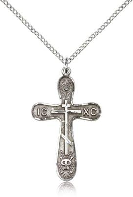 "Sterling Silver Cross Pendant, Sterling Silver Lite Curb Chain, 1 1/4"" x 3/4"""