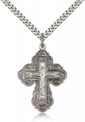 "Sterling Silver Irene Cross Pendant, Stainless Silver Heavy Curb Chain, 1 1/4"" x 7/8"""