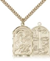 "Gold Filled Mother of God Pendant, Stainless Gold Heavy Curb Chain, 1 1/8"" x 5/8"""