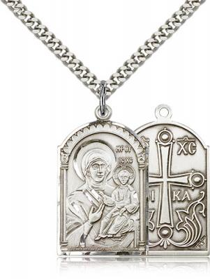 "Sterling Silver Mother of God Pendant, Stainless Silver Heavy Curb Chain, 1 1/8"" x 5/8"""