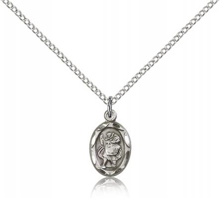 "Sterling Silver St. Christopher Pendant, Sterling Silver Lite Curb Chain, 1/2"" x 1/4"""