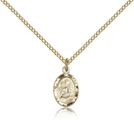 "Gold Filled St. Anthony Pendant, Gold Filled Lite Curb Chain, 1/2"" x 1/4"""