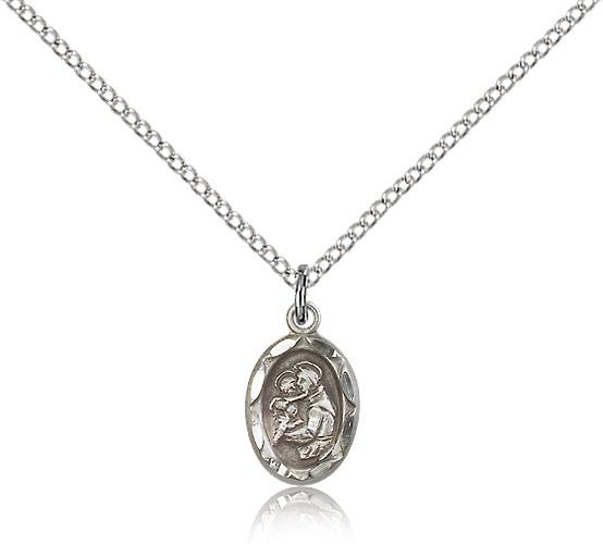 GIFT BOXED ST SAINT ANTHONY OF PADUA STERLING SILVER MEDAL NECKLACE PENDANT
