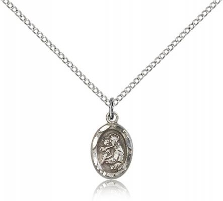 "Sterling Silver St. Anthony Pendant, Sterling Silver Lite Curb Chain, 1/2"" x 1/4"""