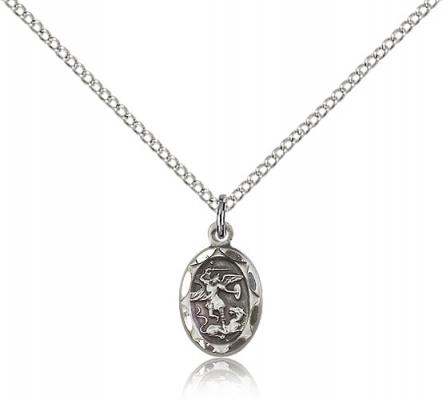 "Sterling Silver St. Michael the Archangel Pendant, Sterling Silver Lite Curb Chain, 1/2"" x 1/4"""
