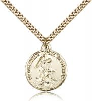 "Gold Filled Guardian Angel Pendant, Stainless Gold Heavy Curb Chain, 7/8"" x 3/4"""