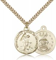 "Gold Filled Guardain Angel / Air Force Pendant, Stainless Gold Heavy Curb Chain, 7/8"" x 3/4"""