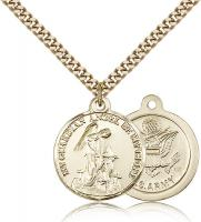 "Gold Filled Guardain Angel / Army Pendant, Stainless Gold Heavy Curb Chain, 7/8"" x 3/4"""