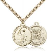 "Gold Filled Guardain Angel / Coast Guard Pendant, Stainless Gold Heavy Curb Chain, 7/8"" x 3/4"""