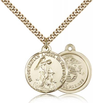 "Gold Filled Guardain Angel / Marines Pendant, Stainless Gold Heavy Curb Chain, 7/8"" x 3/4"""