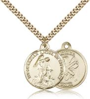 "Gold Filled Guardain Angel / Nat'L Guard Pendant, Stainless Gold Heavy Curb Chain, 7/8"" x 3/4"""