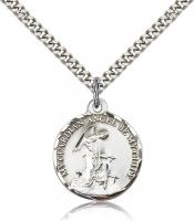 "Sterling Silver Guardian Angel Pendant, Stainless Silver Heavy Curb Chain, 7/8"" x 3/4"""