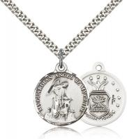 "Sterling Silver Guardian Angel / Air Force Pendant, Stainless Silver Heavy Curb Chain, 7/8"" x 3/4"""