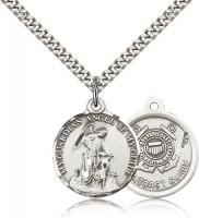 "Sterling Silver Guardian Angel Coast Guard Pendant, Stainless Silver Heavy Curb Chain, 7/8"" x 3/4"""