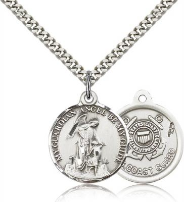 "Sterling Silver Guardain Angel / Coast Guard Penda, Stainless Silver Heavy Curb Chain, 7/8"" x 3/4"""