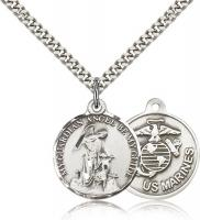 "Sterling Silver Guardain Angel / Marines Pendant, Stainless Silver Heavy Curb Chain, 7/8"" x 3/4"""