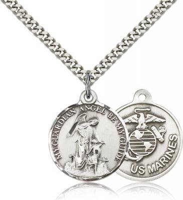 "Sterling Silver Guardian Angel / Marines Pendant, Stainless Silver Heavy Curb Chain, 7/8"" x 3/4"""