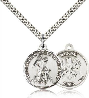 "Sterling Silver Guardian Angel  National Guard Pendant, Stainless Silver Heavy Curb Chain, 7/8"" x 3/4"""