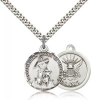 "Sterling Silver Guardian Angel  Navy Pendant, Stainless Silver Heavy Curb Chain, 7/8"" x 3/4"""