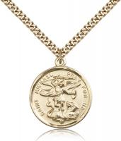 "Gold Filled St. Michael the Archangel Pendant, Stainless Gold Heavy Curb Chain, 1"" x 7/8"""
