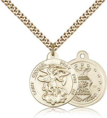"Gold Filled St. Michael the Archangel Air Force Pendant, Stainless Gold Heavy Curb Chain, 7/8"" x 3/4"""