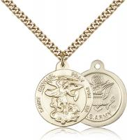 "Gold Filled St. Michael the Archangel Army Pendant, Stainless Gold Heavy Curb Chain, 7/8"" x 3/4"""