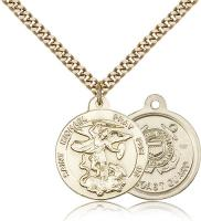 "Gold Filled St. Michael the Archangel Pendant, Stainless Gold Heavy Curb Chain, 7/8"" x 3/4"""