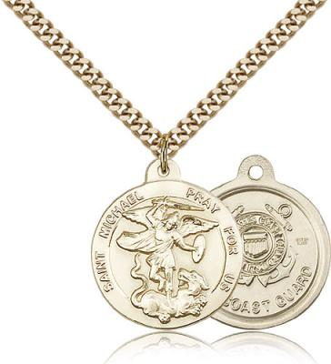 "Gold Filled St. Michael the Archangel Coast Guard  Pendant, Stainless Gold Heavy Curb Chain, 7/8"" x 3/4"""