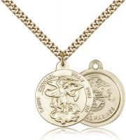 "Gold Filled St. Michael the Archangel Marines Pendant, Stainless Gold Heavy Curb Chain, 7/8"" x 3/4"""