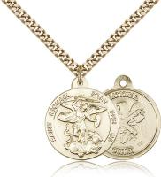 "Gold Filled St. Michael the Archangel National Guard Pendant, Stainless Gold Heavy Curb Chain, 7/8"" x 3/4"""