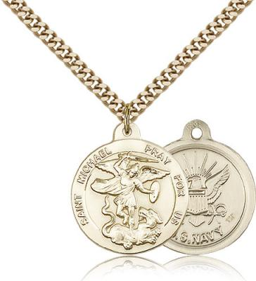 "Gold Filled St. Michael the Archangel Navy Pendant, Stainless Gold Heavy Curb Chain, 7/8"" x 3/4"""