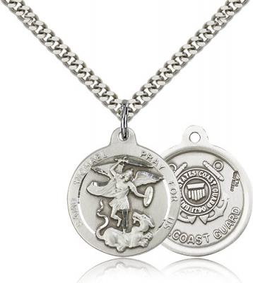 "Sterling Silver St. Michael the Archangel Pendant, Stainless Silver Heavy Curb Chain, 7/8"" x 3/4"""