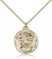 "Gold Filled St. Michael the Archangel Pendant, Gold Filled Lite Curb Chain, 7/8"" x 3/4"""