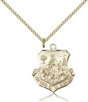 "Gold Filled Lord Is My Shepherd Pendant, Gold Filled Lite Curb Chain, 7/8"" x 3/4"""