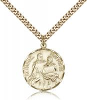 "Gold Filled St. Raphael the Archangel Pendant, Stainless Gold Heavy Curb Chain, 7/8"" x 3/4"""