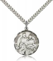 "Sterling Silver St. Raphael the Archangel Pendant, Stainless Silver Heavy Curb Chain, 7/8"" x 3/4"""