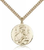 "Gold Filled Our Lady of Perpetual Help Pendant, Stainless Gold Heavy Curb Chain, 7/8"" x 3/4"""