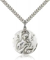 "Sterling Silver Our Lady of Perpetual Help Pendant, Stainless Silver Heavy Curb Chain, 7/8"" x 3/4"""