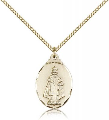 "Gold Filled Infant of Prague Pendant, Gold Filled Lite Curb Chain, 7/8"" x 1/2"""