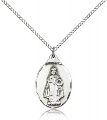 "Sterling Silver Infant of Prague Pendant, Sterling Silver Lite Curb Chain, 7/8"" x 1/2"""