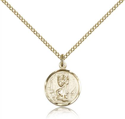 "Gold Filled St. Christopher Pendant, Gold Filled Lite Curb Chain, 5/8"" x 1/2"""