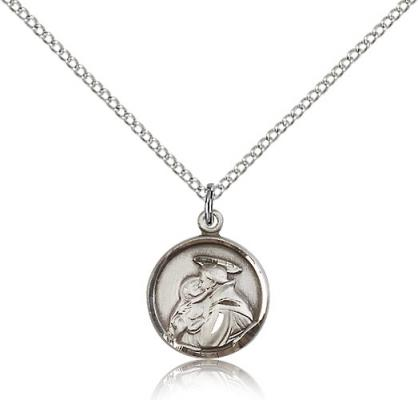 "Sterling Silver St. Anthony Pendant, Sterling Silver Lite Curb Chain, 5/8"" x 1/2"""