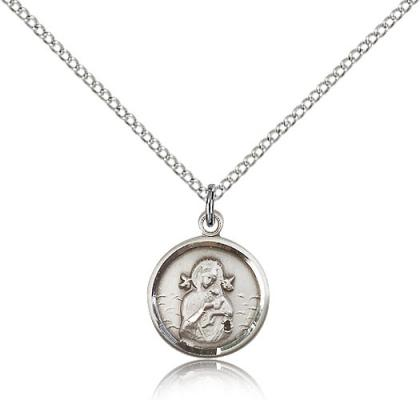 "Sterling Silver Our Lady of Perpetual Help Pendant, Sterling Silver Lite Curb Chain, 5/8"" x 1/2"""