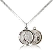 "Sterling Silver Our Lady of La Salette Pendant, Sterling Silver Lite Curb Chain, 5/8"" x 1/2"""