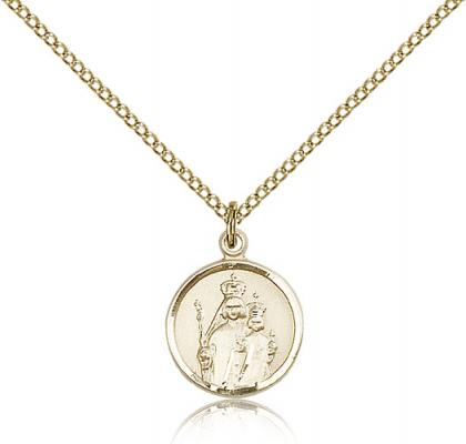 "Gold Filled Our Lady of Consolation Pendant, Gold Filled Lite Curb Chain, 5/8"" x 1/2"""
